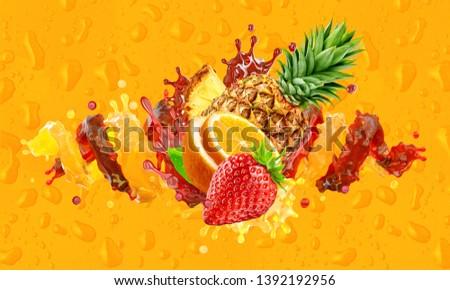 Healthy orange, strawberry, pineapple fruit juices liquid splashes. Fruits juice splashing together - orange, pineapple, strawberry juice in two colorful splashes. Ad label design. Clipping path. 3D