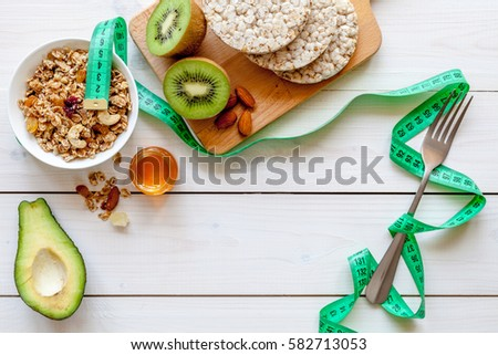 Healthy organic food on white background, top view #582713053