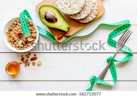 Healthy organic food on white background, top view #582713077