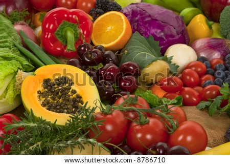 Healthy organic vegetables and fruits - stock photo