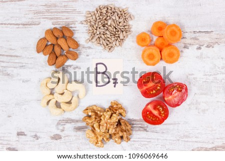 Healthy products and ingredients as source vitamin B7, dietary fiber and natural minerals, concept of nutritious eating #1096069646