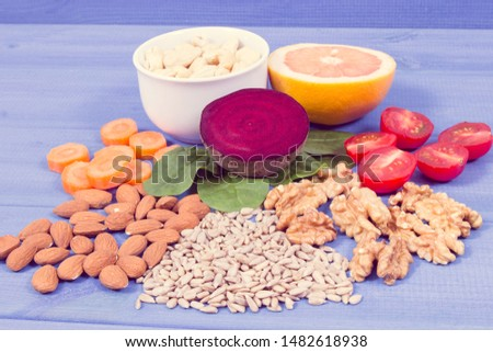 Healthy products and ingredients as source vitamin B7, dietary fiber and natural minerals, concept of nutritious eating