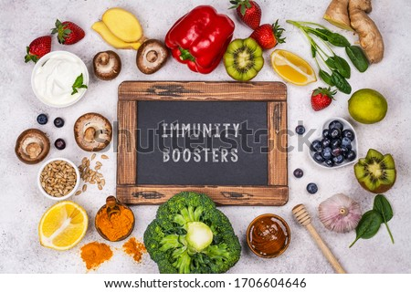 Healthy products - immunity boosters background. Fruits and vegetables for healthy immune system. Top view. Copy space