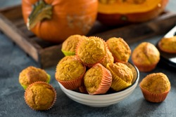 Healthy pumpkin muffins, vegan baked food, autumn dessert