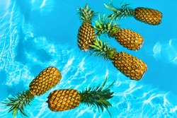 Healthy Raw Organic Food. Fresh Ripe Pineapples Floating In Pure Water In Swimming Pool. Juicy Fruit. Vegetarian, Vegan Nutrition, Lifestyle. Eating Vitamins. Diet, Beauty, Health, Hydration Concept