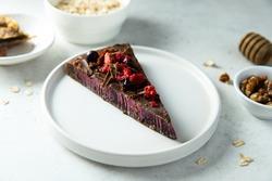 Healthy raw vegan cake with berries