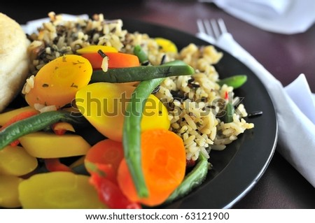 Healthy rice and vegetable set meal suitable for a diet meal.