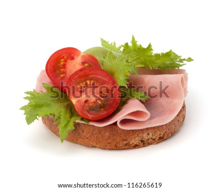 healthy sandwich with vegetable and smoked ham  isolated on white background