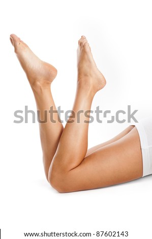 healthy sexy female legs isolated on white background