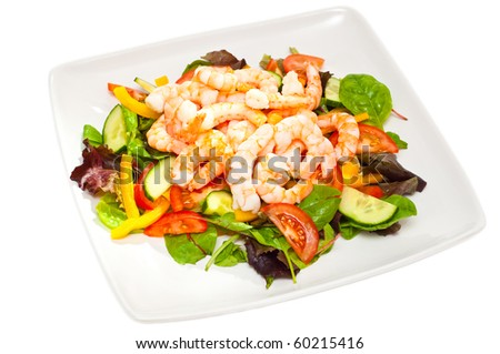 healthy, simple prawn salad isolated