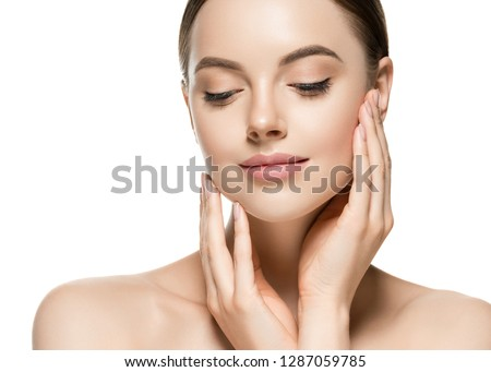 Healthy skin beautiful woman face close up clean skin beauty plastic surgery