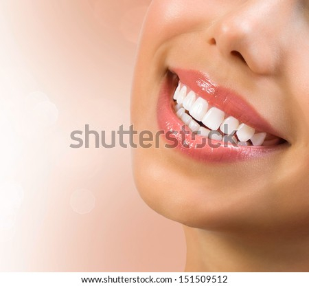 Healthy Smile Teeth Whitening Dental care Concept Woman Smile Closeup Beautiful Lips and Teeth