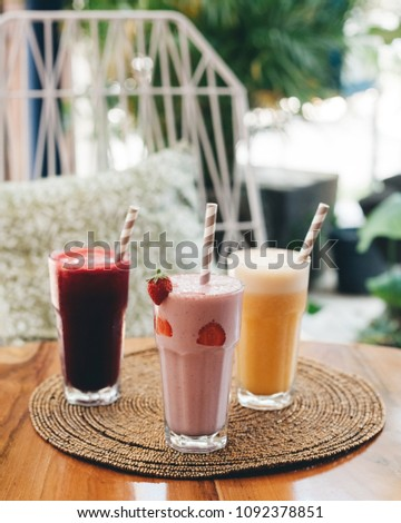 Healthy smoothie juice drinks, red, orange, pink