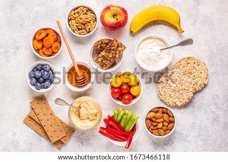 Healthy snack concept, top view. Stockfoto ©