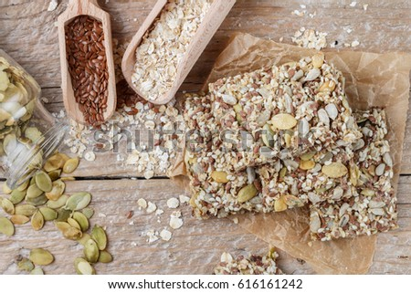 Cookies with pumpkin seeds, flax and sesame seeds Images and Stock