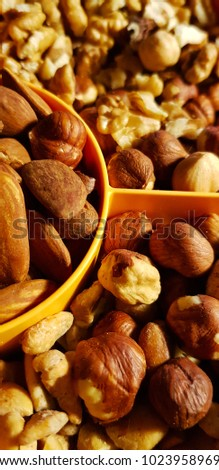Healthy snack nuts, walnut, almond,hazelnut,  peanuts, cranberry, Raisins, plum #1023958969