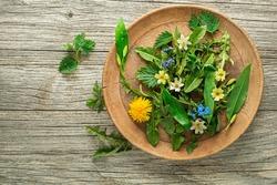 Healthy spring plants food ingredients. Dandelion, wild garlic, flowers and nettle on wooden background
