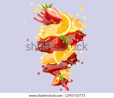 Healthy srawberry and orange fruit juices liquid swirls splashes. Fruits juice splashing together - orange, strawberry juice in two swirls form. Liquid drink design element. Clipping path. 3D render