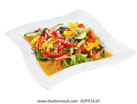 Healthy steamed vegetables isolated on a white