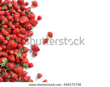 Healthy strawberry isolated on white background. Copy space. Top view, High resolution product.