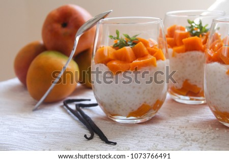 Healthy tapioca pearls pudding dessert with coconut milk and mango. Served in a glass, with mango fruit and vanilla beans in the background.