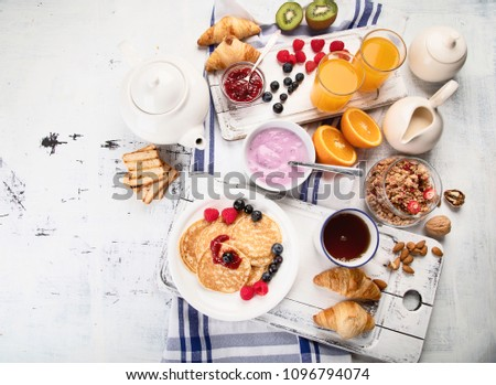 Healthy tasty breakfast. Top view Stockfoto ©