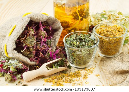 healthy tea, healing herbs on wooden table, herbal medicine