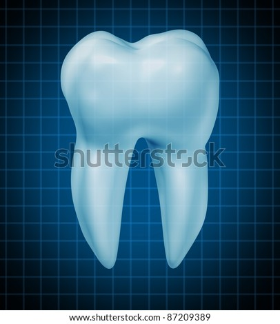 Healthy teeth symbol for dental clinic and oral surgeon for dentist medicine and dentistry surgery with a healthy cavity free frontal view white single molar tooth on a black graph background.