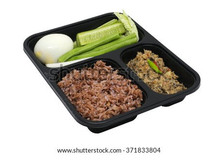 Healthy Thai style meal box in isolated background with clipping path