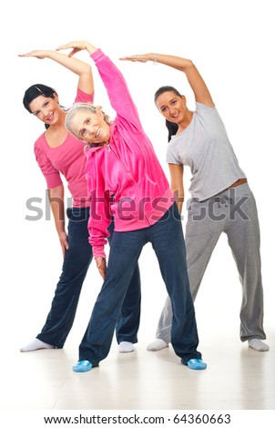 Healthy three women workout and stretching hands  over white background