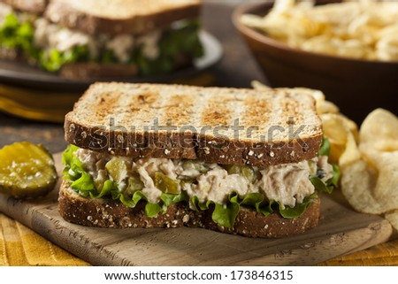 Healthy Tuna Sandwich with Lettuce and a Side of Chips