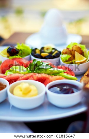Healthy Turkish breakfast in the bright morning.