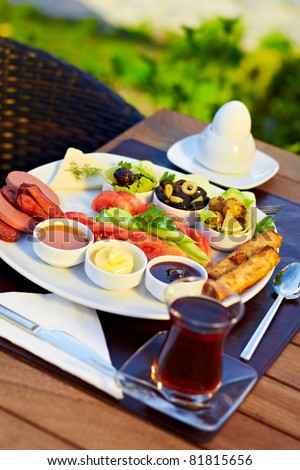 Healthy Turkish style breakfast in the morning.