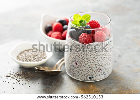 Healthy vanilla chia pudding in a glass with fresh berries Stock photo ©