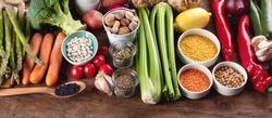 Healthy vegan and vegetarian food. Diet eating concept.  Panorama. Banner