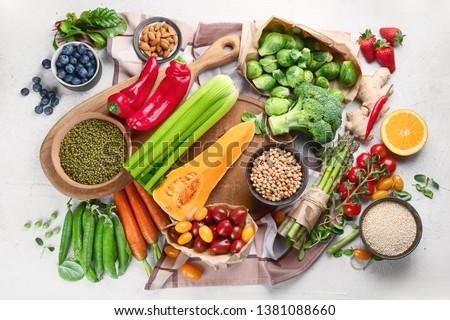 Healthy vegan food.  Vegetarian food cooking ingredients. Clean diet eating. Top view, flat lay #1381088660