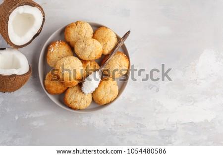 Healthy vegan homemade coconut cookies, light background. Healthy vegan food concept.