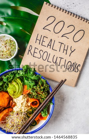 Healthy vegan lunch in a white bowl. Buddha bowl with avocados, sweet potatoes, sprouts and vegetables. #1464568835