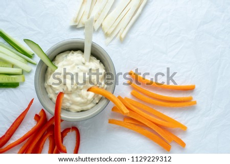 Healthy vegetables and dip snack. Vegetable sticks and dips in bowl. #1129229312