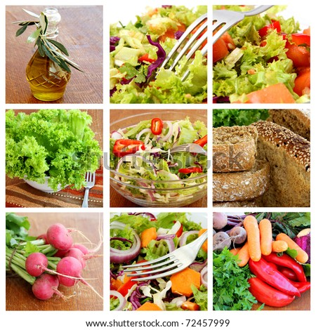 healthy vegetables and Fresh Salad - collage - stock photo