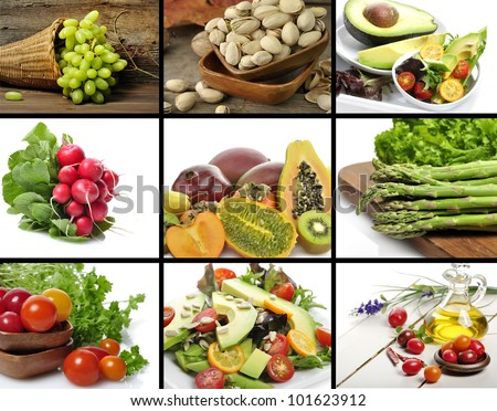 Healthy Vegetables And Fruit Food  Collage