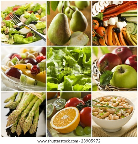 healthy vegetables and fruit food - collage