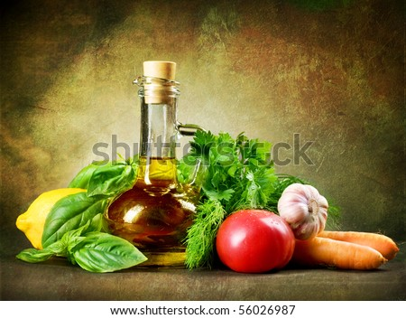 Healthy Vegetables and Olive Oil.Vintage Styled