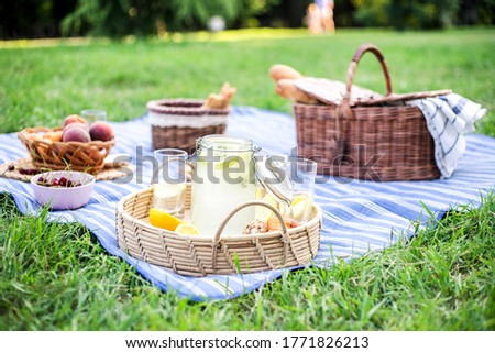 Healthy vegetarian picnic with a delicious spread of fresh fruit and bakery products on green grass. Stockfoto ©