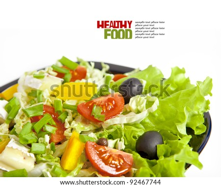 Healthy vegetarian salad isolated on white