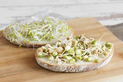 Healthy vegetarian sandwich with sprouted seeds. Mix of various sprouts on slice of bread. Sprouted seeds. Healthy eating concept.
