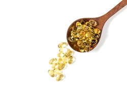 Healthy Vitamins, Omega 3,isolated, has a white background.Copy space