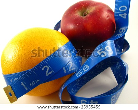 Healthy Weight Management with Fruit and Measuring Tape