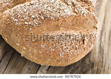 Healthy whole wheat bread - close up with shallow depth of field