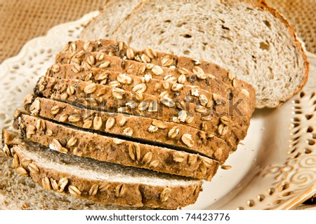 Healthy whole wheat bread in slices - close up